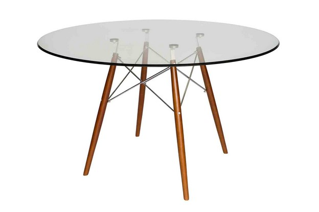 Replica eames dsw eiffel dining table glass walnut keek - Replica eames dining table ...